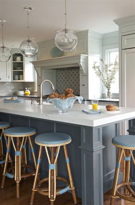 blue kitchen island transitional kitchen kerry