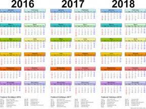 2016 2017 2018 Calendar Printable Free
