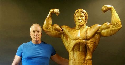 Arnold Schwarzenegger Immortalised In Life-size Wood