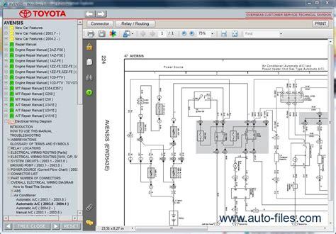 toyota avensis repair manuals wiring diagram