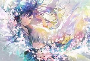 2girls, 888myrrh888, Flowers, Hug, Japanese, Clothes, Kimono, Long, Hair, Original, Petals, School, Uniform