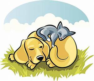 Royalty Free Dog And Cat Sleeping Clip Art, Vector Images ...