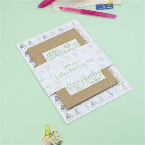 personalised seaside letter writing set   green