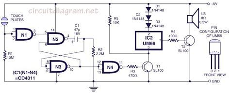 musical bell  touch switch schematic design