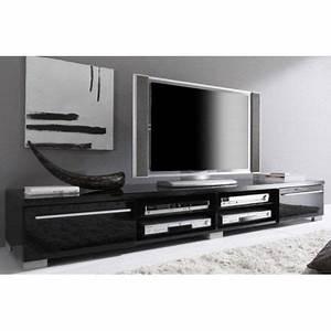 Meuble Tv Noir Laqué : meuble tv design noir laqu cavalli 210 cm achat vente ~ Nature-et-papiers.com Idées de Décoration