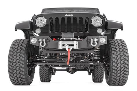 jeep winch bumper hybrid stubby front winch bumper w fog mounts for 07 17