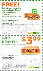 Subway Coupons and Discounts