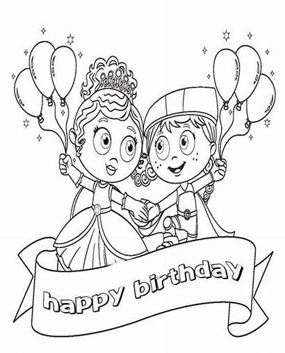 Coloring Birthday Happy Disney Pages Princess Printable