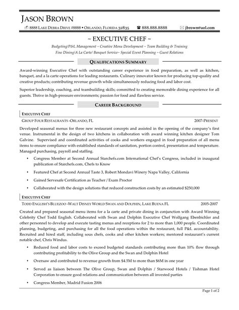 Chef Resume by Executive Chef Resume Sle Resume Sles Chef
