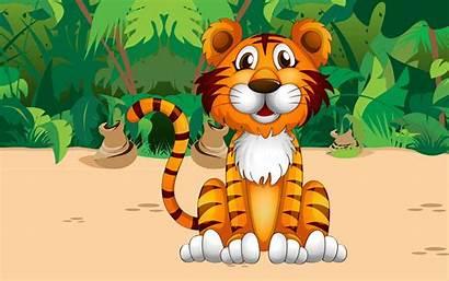 Tiger Desktop Cartoon Jungle Plant Animals Wallpapers