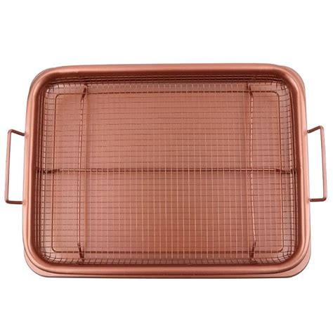 crisper copper fryer air tray basket frying chef pan oven oil mesh grill non inch kitchen aluminum stick piece pans