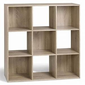 compo meuble de rangement contemporain 9 cases decor chene With meuble 9 cases leclerc