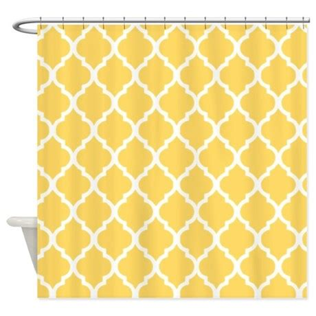 mustard yellow quatrefoil pattern shower curtain