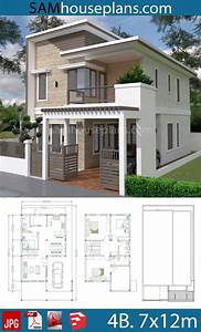 House, Plans, 7x12m, With, 4, Bedrooms, Plot, 8x15