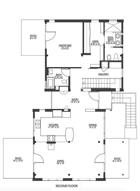 Modern Style House Plan  2 Beds 250 Baths 1953 Sqft