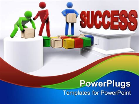 Success Powerpoint Templates Free by Powerpoint Template Three 3d Figures Working In Team To