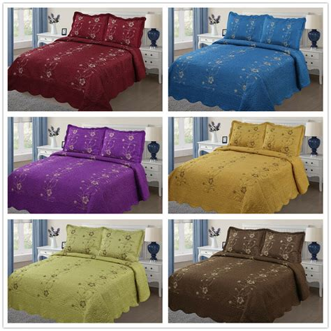 King Size Coverlets And Quilts by 3pc Embroidery Quilts Bedspread Set Bedding Coverlet