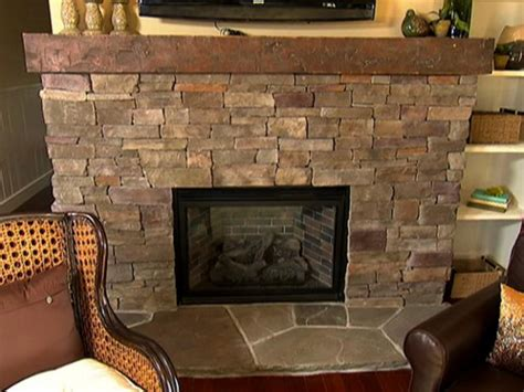 stacked stone fireplace   video diy