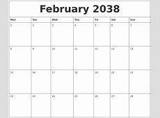 February 2038 Calendar