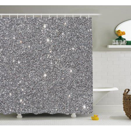 sparkle shower curtain silver shower curtain set glitters themed luxury