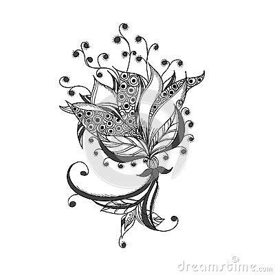 fantasy flower black  white tattoo pattern royalty
