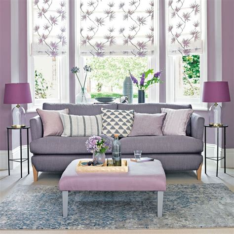 lilac living room  grey toned sofa  floral blinds