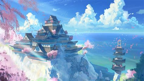 Anime Wallpaper For Laptop Free - japan temple scenery anime wallpapers free