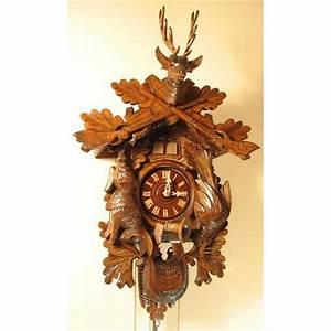 German Cuckoo Clock - Cuckoo, Quail, Hunting Design