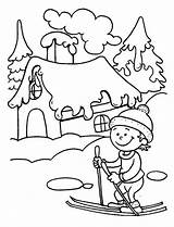 Coloring Winter Pages Skiing Ski Learning Kid Season Play Young Fun Colouring Weather Sky Books Getcolorings Template Lessons sketch template