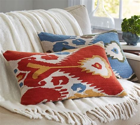pottery barn throw pillows for ikat embroidered lumbar pillow cover pottery barn