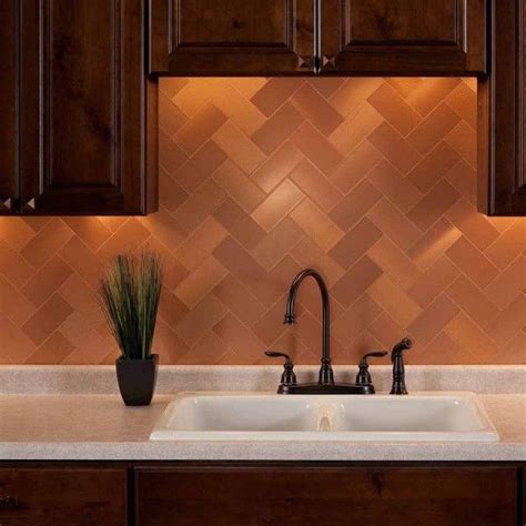 metal backsplash tiles for kitchens aspect backsplash 3x6 brushed copper grain metal 9145