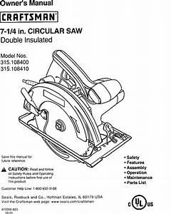 Craftsman 315108400 User Manual Circular Saw Manuals And