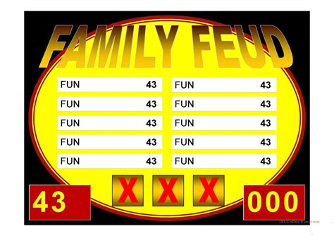 family feud game power point template worksheet  esl