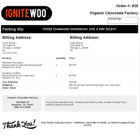 woocommerce  invoices packing slips