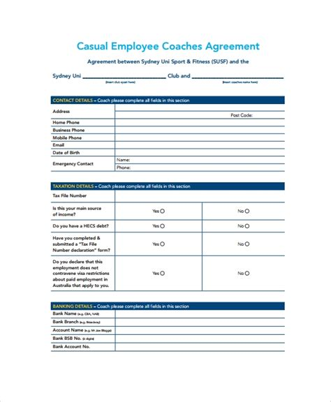 casual template employment agreement sample employee documents word nz hq pdf