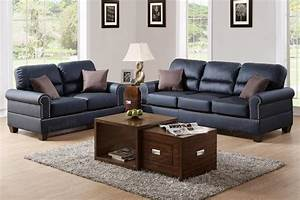 Poundex aspen f7877 black leather sofa and loveseat set for Sofa bed and recliner chair set