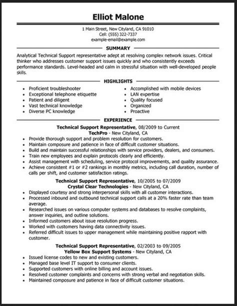 technical experience resume format sle resume format