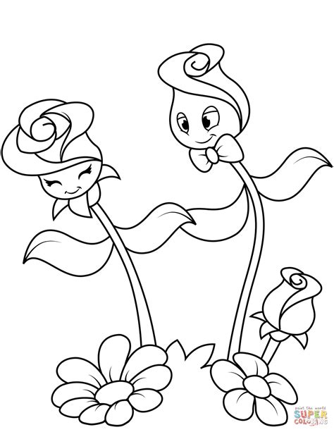 Cute Roses Characters coloring page Free Printable
