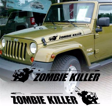 zombie jeep decals product zombie killer flying bullet hood vinyl decal