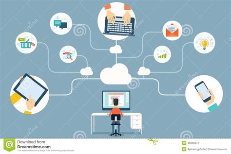 vector cloud network  business working  stock