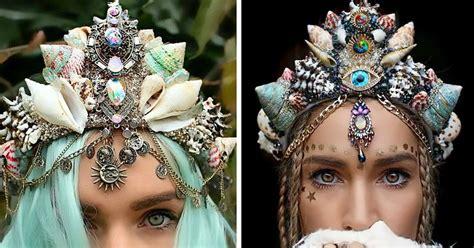 mermaid crowns  real seashells   internet
