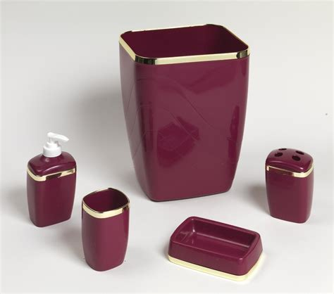 Burgundy Bathroom Accessories by Carnation Home Fashions Inc 5 Plastic Bath