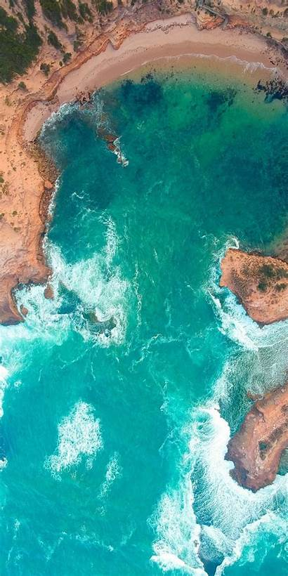 Sea Aerial Surf Coast Phone Wallpapers Backgrounds