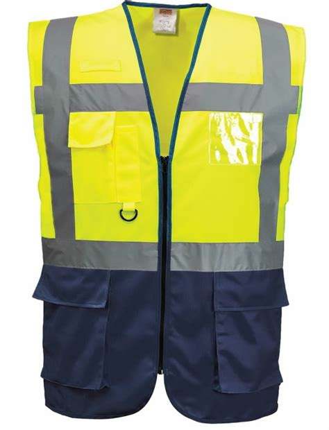 Augstas redzamības veste LSGMP, dzeltena/tumši zila, M ...