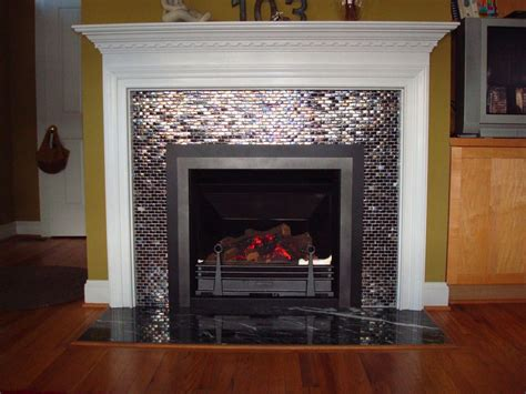 glass tiled high efficiency gas log fireplace with