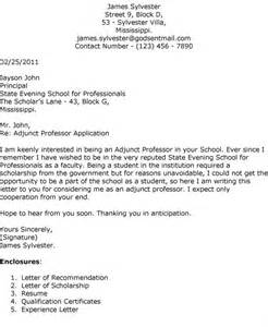 Cover Letter Adjunct Faculty Position Sample