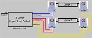T12 Ballast Wiring Diagram 1 Lamp With 2 Lamp Fluorescent Ballast Wiring Diagrams