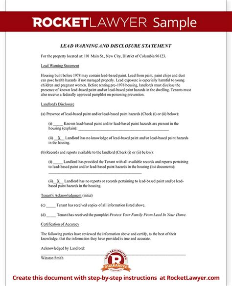 nyc lead paint disclosure form lead paint disclosure form statement with sle