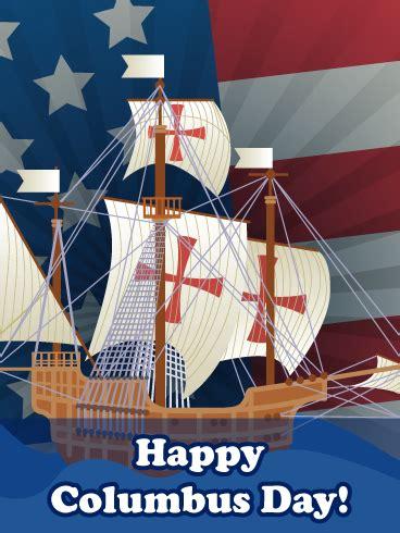 ship flag columbus day card birthday greeting