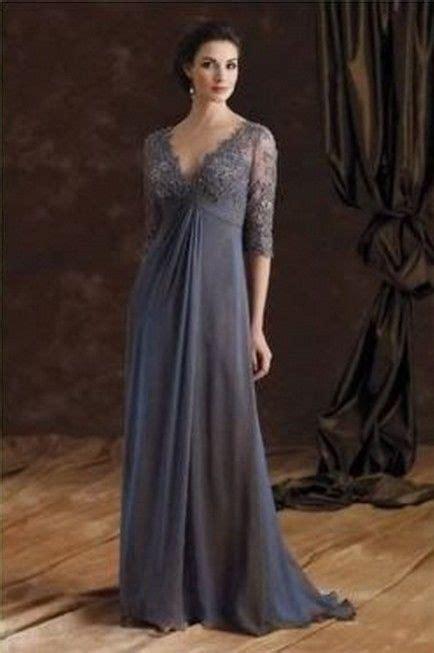 gray chiffon mother   bride dresses  neck lace